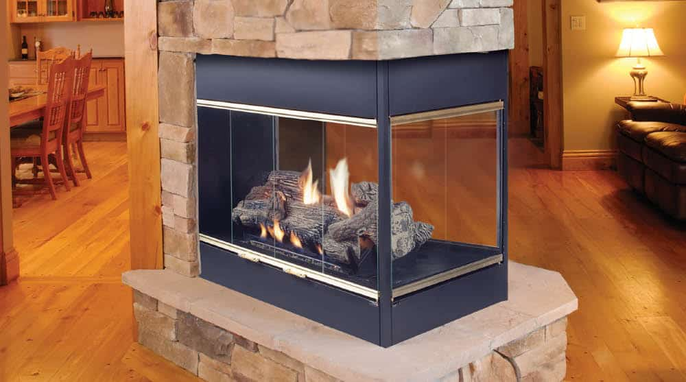 Prodigy 3 Sided Fireplace on central air conditioners